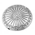 Belle perle lentille gravee couleur argent tibetain-17.5mm