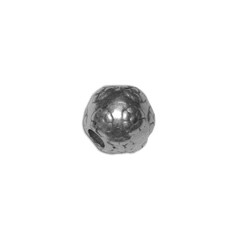 Lot de 10 perles rondes gravures fleurs placage argent-17mm