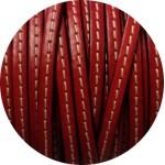 Cordon de cuir plat 5mm rouge couture blanche vendu au metre