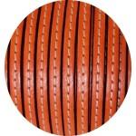 Cordon de cuir plat 5mm orange clair couture blanche vendu au metre