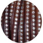 Cordon de cuir plat 6mm marron brun strass vendu au metre
