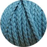 Cordon de cuir plat tresse 5mm bleu ciel vendu au mètre