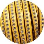 Cordon de cuir plat 6mm jaune strass vendu au mètre