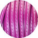 Cordon de cuir plat 5mm violine couture blanche vendu au metre