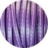 Cordon de cuir plat 5mm violet couture blanche vendu au metre