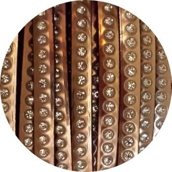 Cordon de cuir plat 6mm or rose effet miroir avec strass vendu au cm 35b5a788d0e5