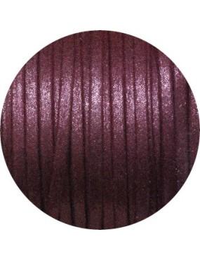 Lacet fantaisie plat 3mm nacré couleur bordeaux