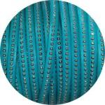 Cordon de cuir plat 6mm menthe a billes-vente au cm