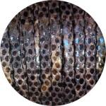 Lacet fantaisie plat remplié de 5mm serpent couleur marron