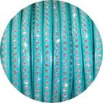 Cuir plat 6mm couleur menthe avec strass vendu au mètre
