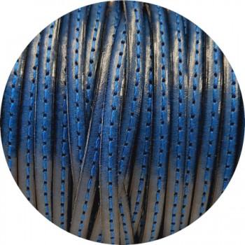 Cordon de cuir plat 5mm bleu nuit couture au ton en vente au cm
